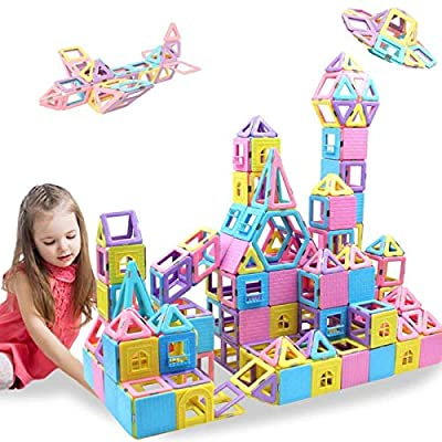 HLAOLA Magnetic Blocks 133PCS Upgrade Magnetic Building Blocks Magnetic Tiles Educational Toys Tiles Set for Kids Magnet Stacking Toys for Kids Children Age 3 4 5 6 7 Year Old (3D Macaron Colors) by HLAOLA