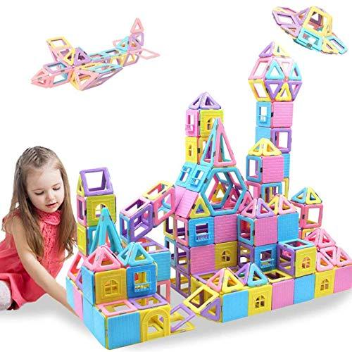 Bloques magnéticos HLAOLA 133 piezas de bloques magnéticos de construcción, baldosas magnéticas, juguetes educativos, juego de baldosas para niños con imán apilable, juguetes para niños de 3, 4, 5, 6, 7 años de edad (colores macaron 3D)