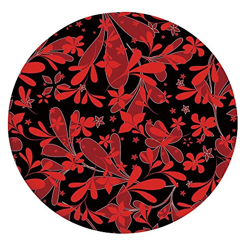 Elastic Edged Polyester Fitted Tablecloth,Ethnic Design Oceanic Island Flowers Petals Leaves Nature Art Print Decorative Tablecloth,Fits Round Tables 24',for Indoor and Outdoor Events Ruby Black White