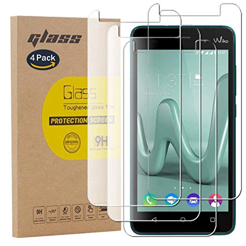pinlu [4 Stück] Panzerglas Bildschirmschutzfolie für Wiko Jerry 3 Transparent Glasfolie Protector 9H Festigkeitgrad Schutzglas,99prozent Transparenz,Einfaches Anbringen