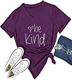 Be Kind T Shirts Women Cute Graphic Blessed Shirt Funny Inspirational Teacher Fall Tees Tops (Purple v Neck, XL)