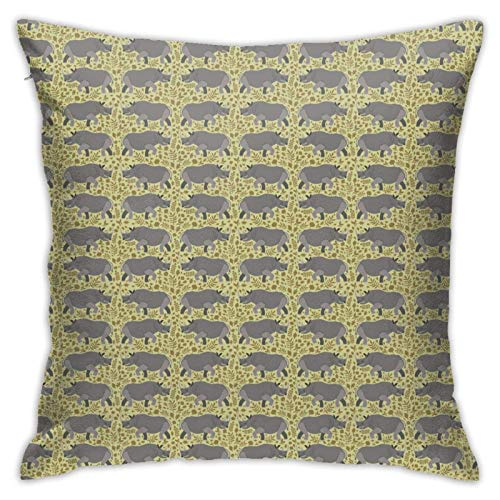 Hangdachang Rhino Rhinoceros RhinocerosesPillow Covers Throw Pillow Covers for Bedding, Livingroom, Couch Soft Square Pillowcase Rhino Rhinoceros Rhinoceroses Unique Gift Cushion Case