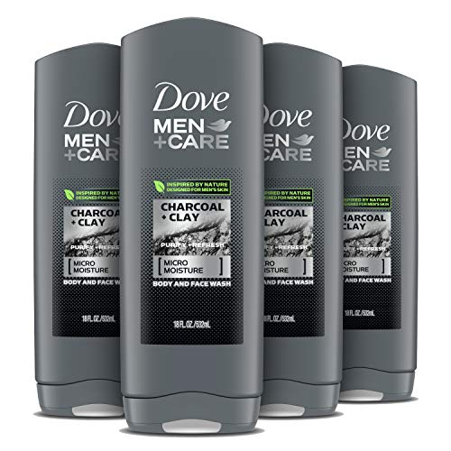 DOVE MEN + CARE Elements Body Wash Charcoal+Clay 18 oz 4 Count For Men's Skin Care Effectively Washes Away Bacteria While Nourishing Your Skin