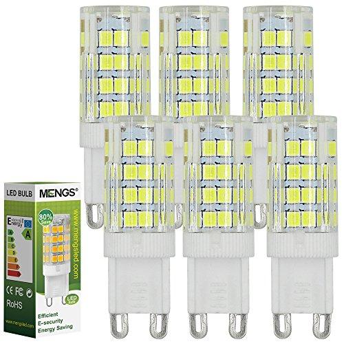 MENGS 6 Stück 5W G9 LED Lampe 480lm, Kein Flackern und 6000K Kaltweiß G9 LED Glühlampe Ersatz 40W G9 Halogenlampe 360° Abstrahlwinkel für Wohnzimmer, Schlafzimmer, Küche, Esszimmer, Büro, Laden, Bad usw