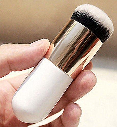 Magideal Maquillage Brosse visage Poudre Fond de Teint Liquide Brosse Blanc argenté