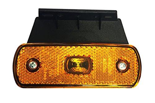 1x LED Seitenmarkierungsleuchte 12V 24V orange mit Kabelschnellbefestigung P2G-Flachkabel + 90° Halter