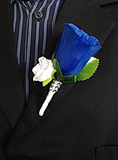 Angel Isabella Boutonniere - Royal Blue White Rose with White Mini Rose