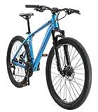 BIKESTAR Bicicleta de montaña Hardtail de Aluminio, 21 Marchas Shimano 27.5' Pulgadas | Mountainbike con Frenos de Disco Cuadro 18' MTB | Azul Naranja