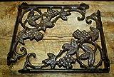 JumpingLight 2 Cast Iron Antique Style Grapes &, Vine Brackets, Garden Braces Shelf Bracket Cast Iron Decor for Vintage Industrial Home Accessory Decorative Gift