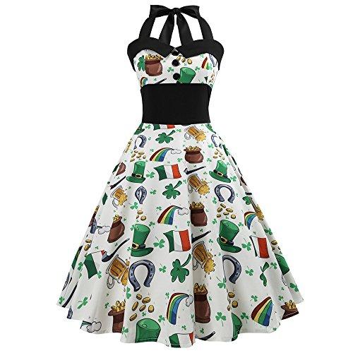 TEBAISE Herren Damen Rockabilly Kleider Neckholder 1950er Vintage Kleid Retro Knielang Kleider Damenkleider Festlich Cocktailkleider Petticoat Faltenrock Karneval Fasching Fasnacht er Partykleid