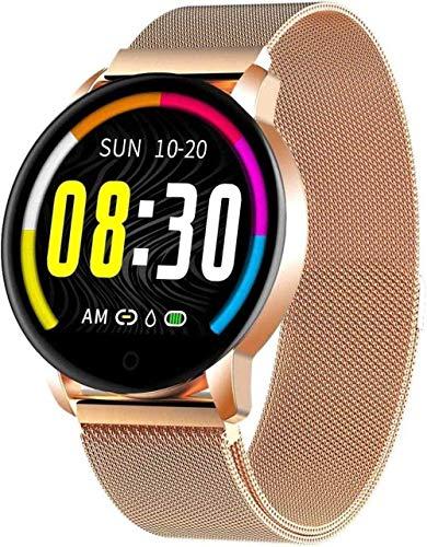 Reloj inteligente para mujer Bluetooth Fitness Tracker compatible con iOS Android Phone Sport Activity Tracker con monitor de sueño/ritmo cardíaco contador de calorías, oro rosa rosa y dorado
