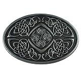 LKMY Hebilla ovalada para cinturón con nudo celta, cruz celta escocesa irlandesa de American Keltic para hombre y mujer Plateado D-silver