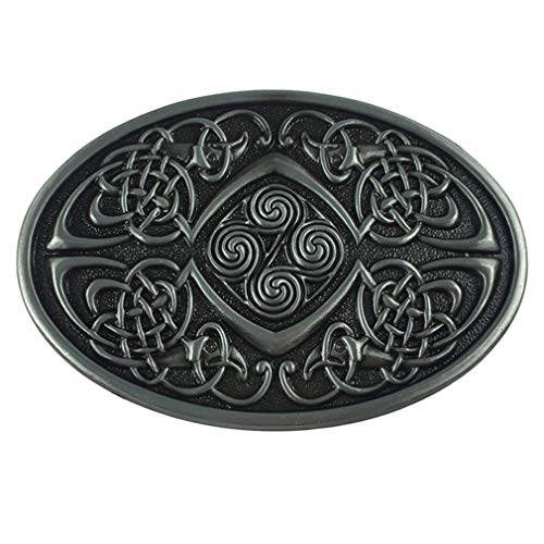 LKMY Celtic Knot Oval Belt Buckle,American Keltic Irish Scottish Celtic Cross For Mens Womens (D-Silver)
