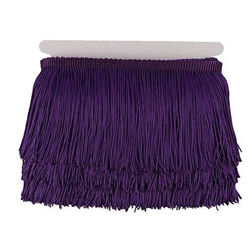 Kolight Fransenborte aus Polyester mit Spitze, ca. 9 m, Dekoration für lateinamerikanische Kleider, Bühnenkleidung, Lampenschirm violett