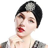 ArtiDeco Mujer Gorro Turbante con Cristal Vintage Pelo Turba