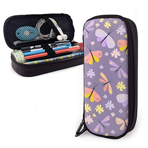 Pencil Case Pen Bag Colorful Butterfly Beetle Flowers Pencil Case, Large Capacity Pen Case Pencil Bag Stationery Pouch Pencil Holder Pouch with Big Compartments