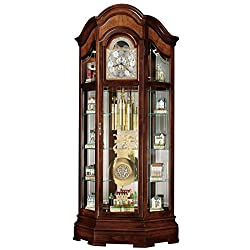 Howard Miller Liskov Floor Clock 547-028 – Large Windsor Cherry Curio Cabinet with Cable-Drive, Triple-Chime Movement with Volume Control