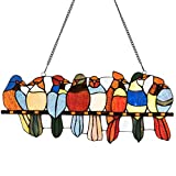 stained glass birds window panel - Tangkula Tiffany Style Glass Window Panel 8 Birds, Stained Glass Window Hangings Panel, 8 Birds on a Wire, Tiffany Style Parrots Hinging Treatment, Bright Colors (22.5''W x 9''H)