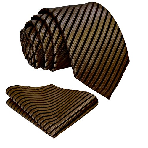 Striped Ties for Men - Woven Necktie & Pocket Square - Chocolate Brown w/Black