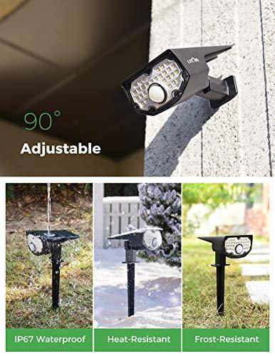 LITOM 30 LEDs Solar Motion Sensor Landscape Spotlights, IP67 Waterproof Outdoor Solar Powered Security Wall Light 3 Modes Solar Landscaping Lighting for Yard Garden Garage Pool Patio 4 Pack Cold White