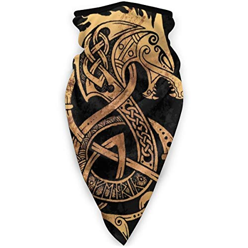 Nordic Fenrir Wolf Celtic Mask Sports Windproof Bandana Face Mask Neck Gaiter Headband, Balaclava Black