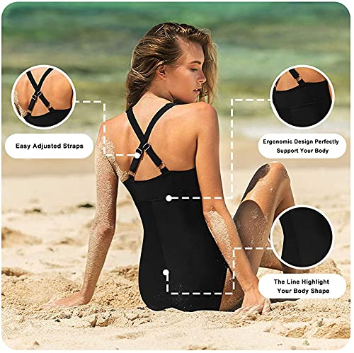 FLYRONG Swimming Consume for Women V Neck One Piece Tummy Control Swimsuits for Women Swimwear, M (UK12-14), Black