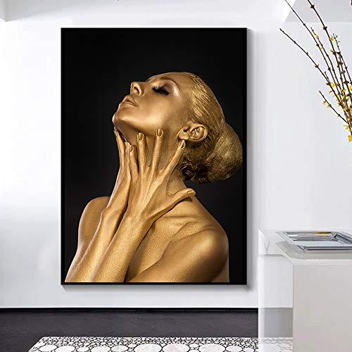 HD-Druck Bilder goldene afrikanische schwarze Kunst Frau Leinwand Malerei Plakate und Drucke nordische Wohnzimmer Schlafzimmer Familie rahmenlose dekorative Wandbild A14 30x40cm