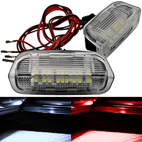 2 módulos LED para iluminación de puerta, iluminación de entrada, señal de visibilidad, luz de bienvenida, color blanco y rojo (rojo)