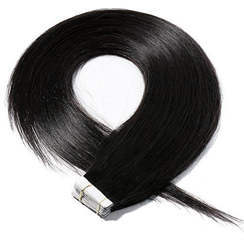 Tape Extensions Echthaar Haarverlängerung Tape in Klebeband Haar 20 Tressen x 4 cm breit 50g-40cm(#1 Schwarz)