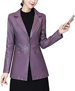 DISSA P8105 Women Faux Leather Lapel Jacket Slim Coat Leather Jacket