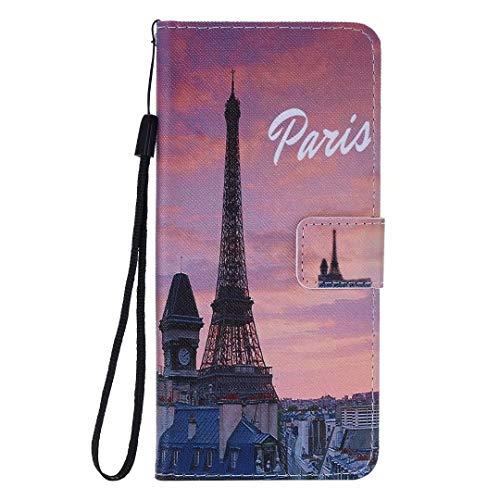 Miagon Flip PU Leder Schutzhülle für Samsung Galaxy S9 Plus,Bunt Muster Hülle Brieftasche Case Cover Ständer mit Kartenfächer Trageschlaufe,Eiffel Turm
