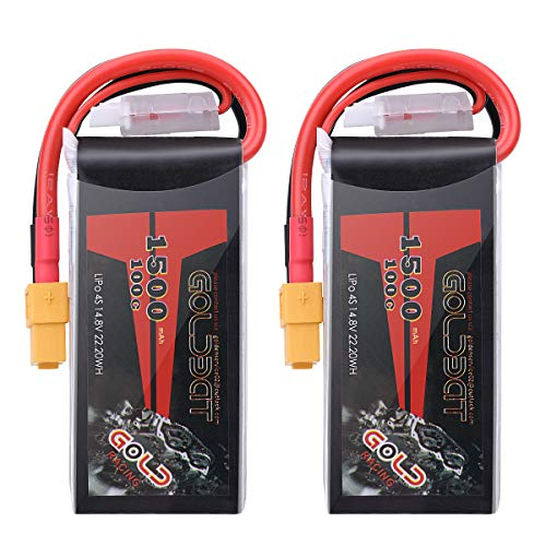 GOLDBAT 1500mAh 4S 100C 14.8V Lipo Battery Softcase Pack with XT60 Plug for RC Boat Heli Airplane UAV Drone FPV - 2 Pack