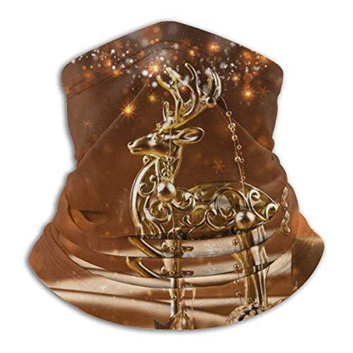 LREFON Pañuelo de Cuello de Ciervo Dorado de Navidad, pasamontañas más cálido para Hombres, Mujeres, protección contra el Polvo del Viento y el Sol