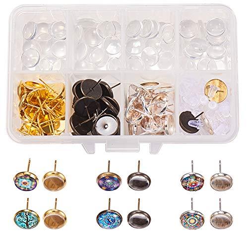 SUNNYCLUE 1 Caja DIY 30 Pares 3 aretes de cabujón de Color Que Hacen el Kit de Inicio 60 Piezas de cabujón de Oreja y cabujones de Vidrio Transparente de 10 mm