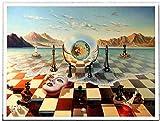 Surreal City Chess Beach Set Arte de la pared Pintura abstracta de la lona Impresión del cartel clásico Cuadros de pared modernos Decoración para el hogar Pintura al óleo 40x60cm Sin marco