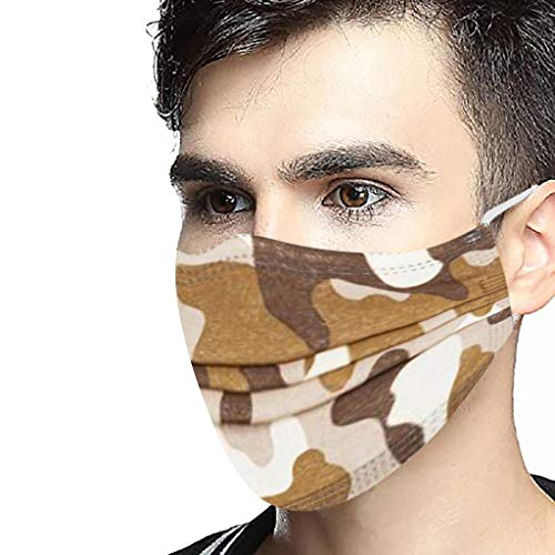 Watopi 50PC/Box Unisex Adultos Cara Covering Camuflaje Transpirable Desechable 3-Ply Diseño Industrial Cara Bandanas Al Aire Libre Dily Uso