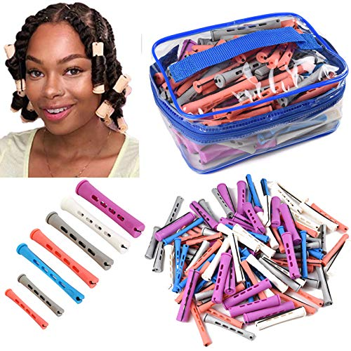 120pcs Perm Rods Set for Natural Hair 7 Sizes Cold Wave Rods Hair Rollers for Women Hair Curling Rods for Long Medium Small Hair Curler Styling DIY Hairdressing Tools(purple+white+gray+pink+blue)