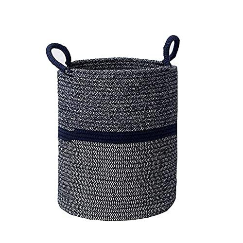 ZSCC Cesta de lavandería grande, cestas de lavandería grandes de cuerda de algodón tejida, cesta de almacenamiento de cesto de lavandería plegable con asas para dormitorios, baño, juguete, revista,