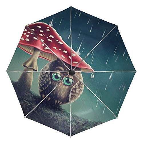 Ombrello da viaggio piccolo Antivento da esterno Pioggia da sole UV Auto compatto Ombrello da 3 pieghe Cover - Piccolo gufo seduto sotto i funghi