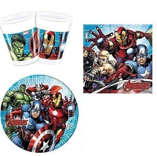 ILS I LOVE SHOPPING Kit Festa Coordinato Tavola Addobbi Party Set Compleanno con 8 Piatti 23cm, 8 Bicchieri e 20 tovaglioli (Mighty Avengers Supereroi, Set 8 Persone)