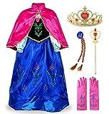 JerrisApparel Prinzessin Kostüm Karneval Verkleidung Party Kleid (140, Anna mit Zubehör)