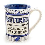 "Enesco Our Name Is Mud ""Retired Shirt And Tie"" Stoneware Coffee Mug, 16 oz"