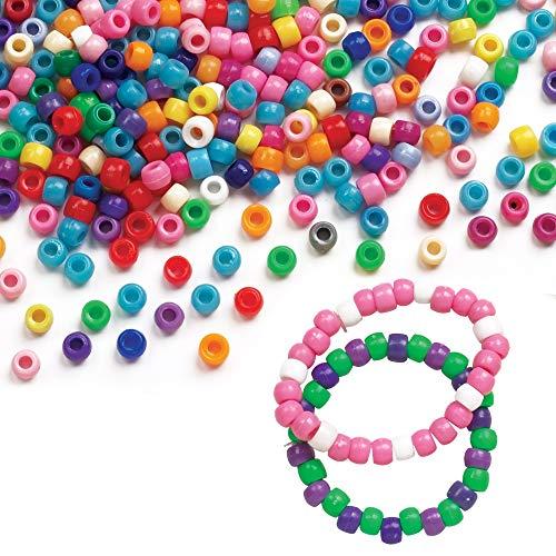 Baker Ross EC1588 Großpackung Perlen-bunt-für Kinder zum Basteln von Schmuck-Ketten-Armbändern-600 Stück, Kunststoff