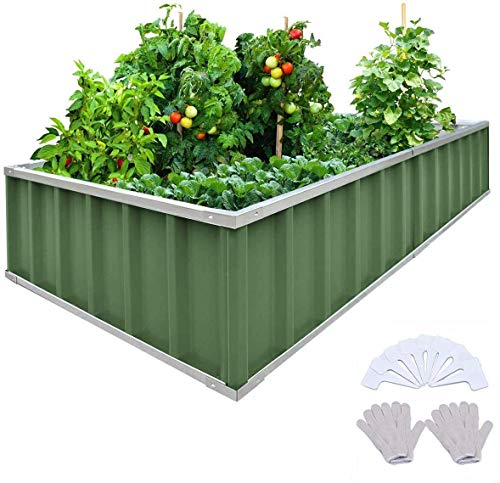 KING BIRD Extra-Thick 2-Ply Reinforced Card Frame Raised Garden Bed Galvanized Steel Metal Planter Kit Box Green 68'x 36'x 12' with 8pcs T-Types Tag & 2 Pairs of Gloves (Jade-Green)