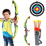 MZZG Bow and Arrow for Kids with LED Flash Lights,Archery Bow with 6 Suction Cups Arrows, Target and Quiver, Practice Outdoor Toys for Children Above 3-12 Years Old