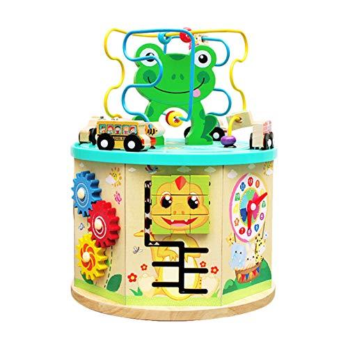 Elementra Motorikwürfel, Motorikspielzeug Wooden Activity Cube Bead Maze 7 In 1 Holzspielzeug,Mehrzweck-Lernspielzeug Für Baby, Kinder, Kinder, Kleinkinder
