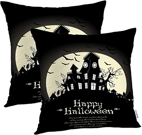 Fundas de almohada de Halloween 18x18 pulgadas, fiesta de la noche de Halloween Silueta de la casa fantasmagórica Otoño Otoño Arte aterrador Cojines Fundas de cojines Sofá Funda de almohada