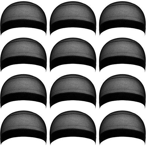 eBoot 12 Pack Nylon Wig Caps for Women and Men (Black)