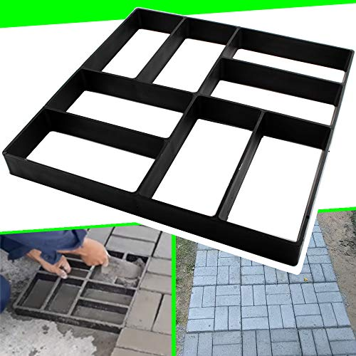 CJGQ 15.7'x15.7'x1.57' Concrete Molds Reusable Walk Maker Pathmate Stone Molding Stepping Stone Path Maker Paver Yard Patio Lawn Garden DIY Walkway Pavement Brick Moulds (8-Grid)
