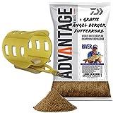 Daiwa Advantage Baits Groundbait 1kg Angelfutter mit Fin Feeder Futterkorb (River)